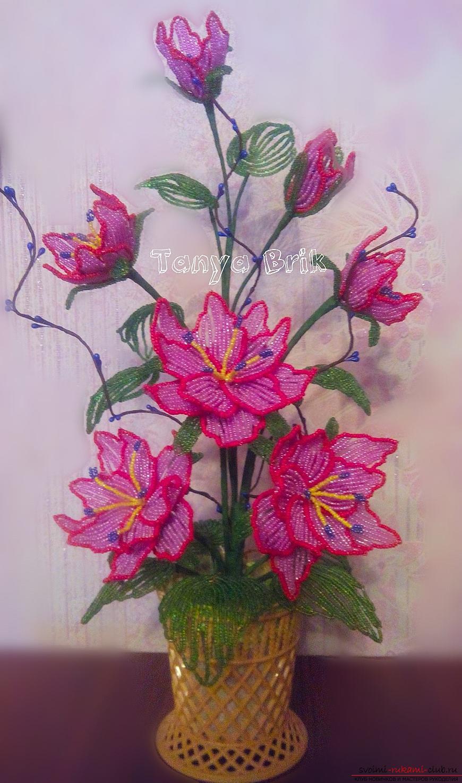 Цветки из бисера пошаговым