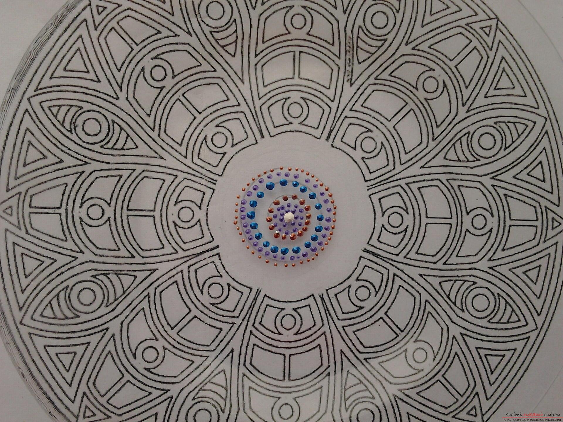 Точечная роспись тарелки на Конкурс Весна 2016, точечная роспись