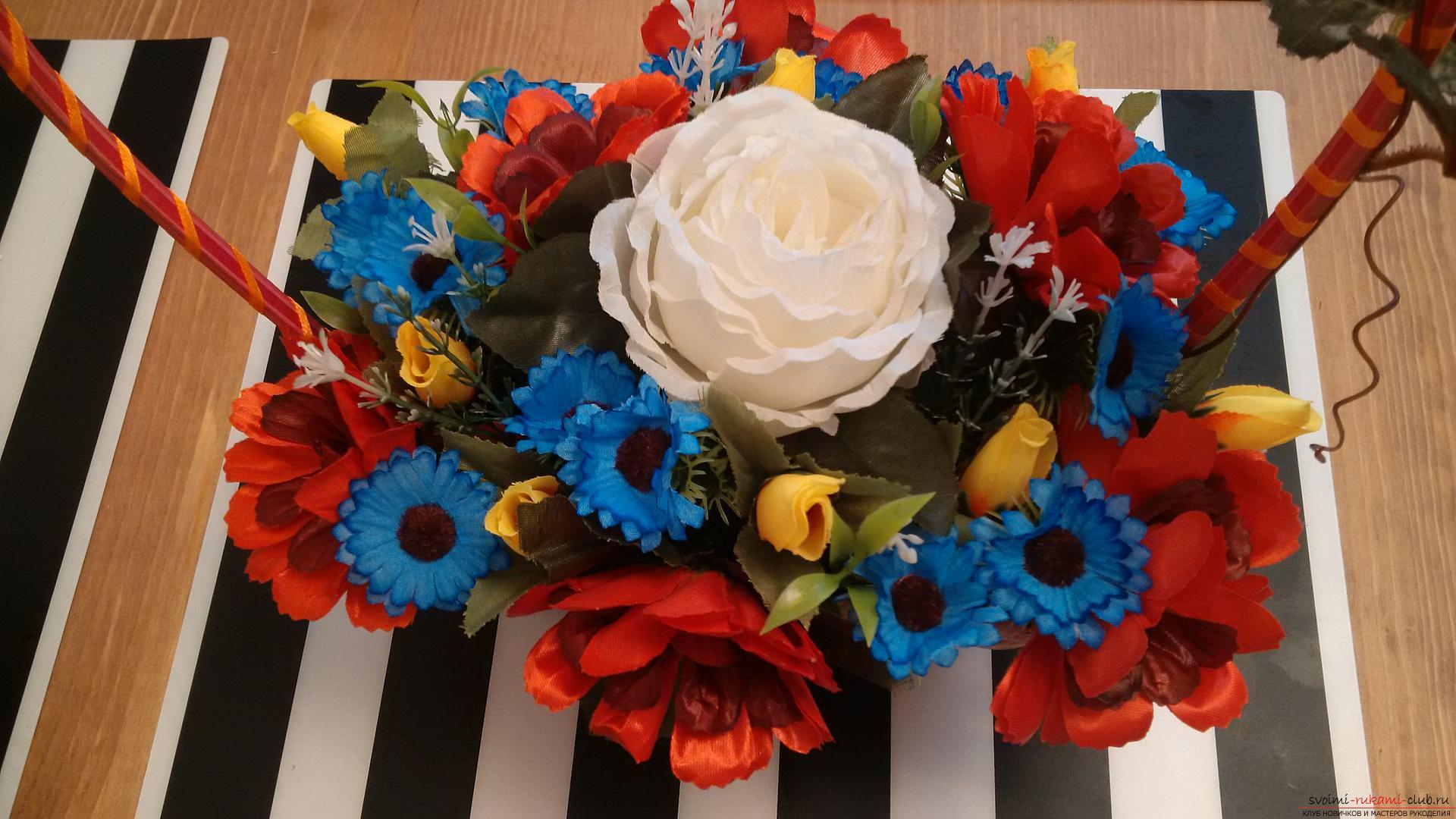 Цветочный букет в корзине на Конкурс Весна 2016, оригинальные идеи своими руками