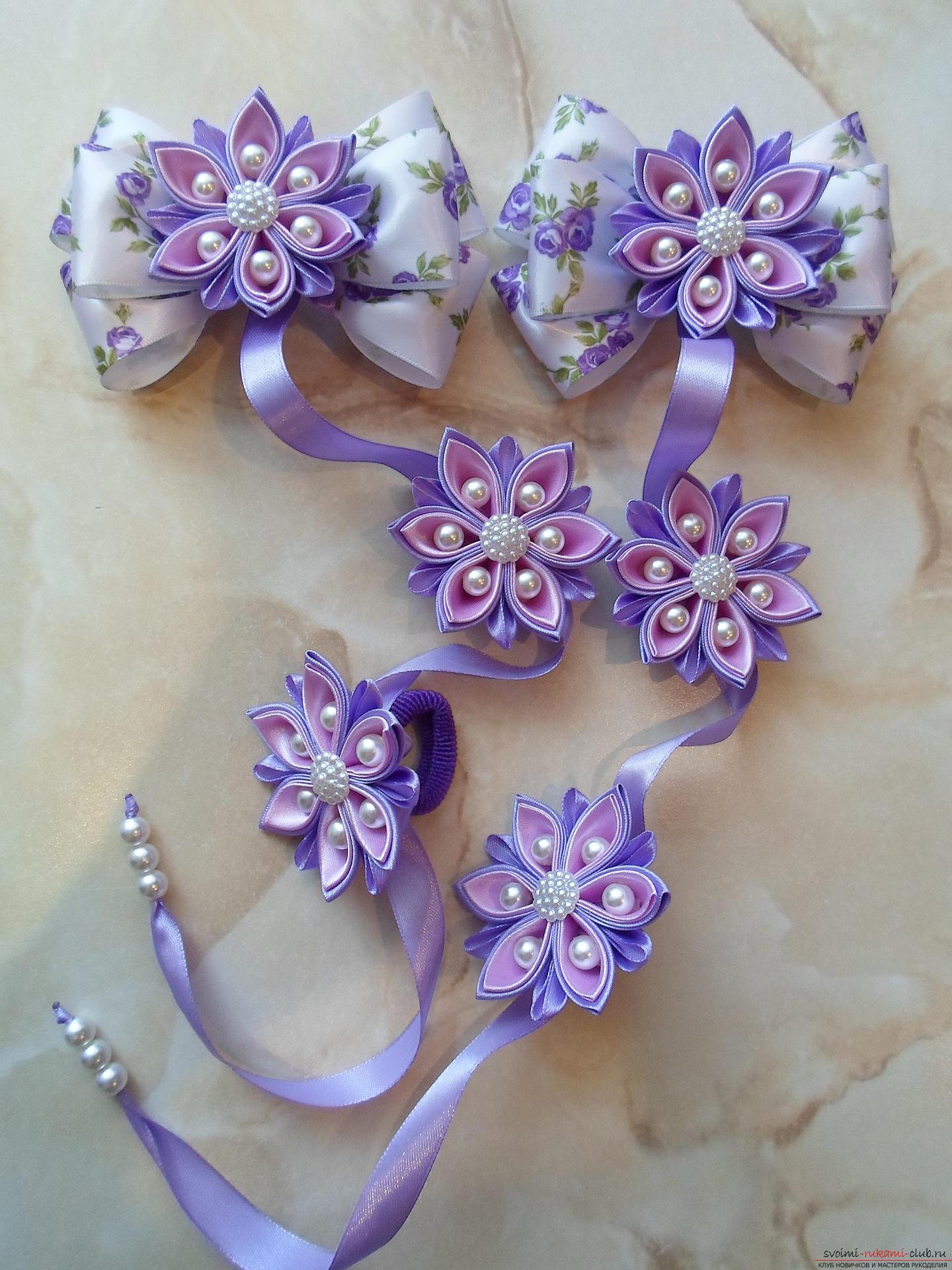 Цветы в косу своими руками