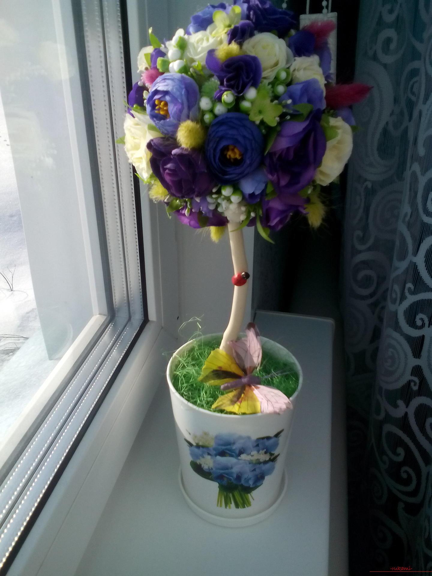 Пошаговые фото топиарий из цветов