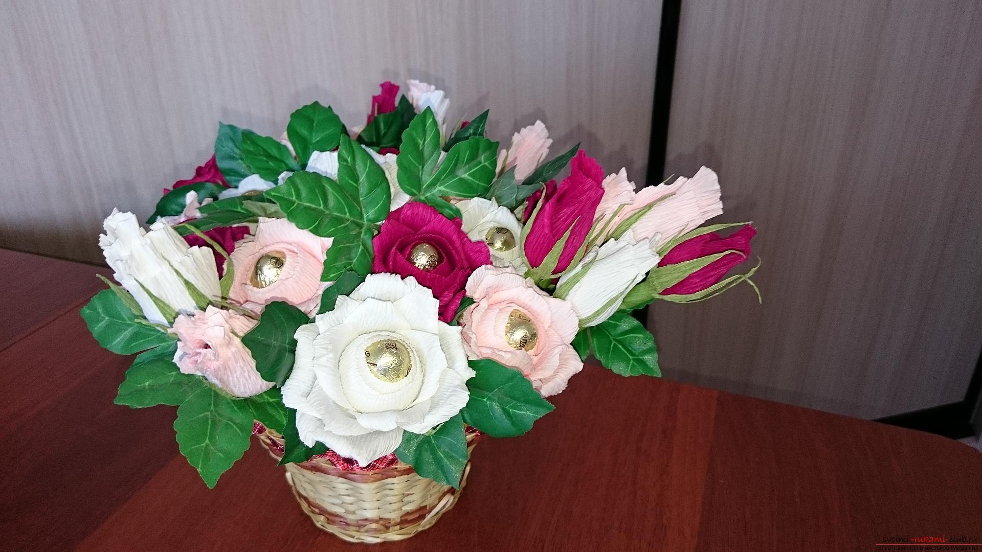 Конфеты в цветах розах своими руками из бумаги фото 600
