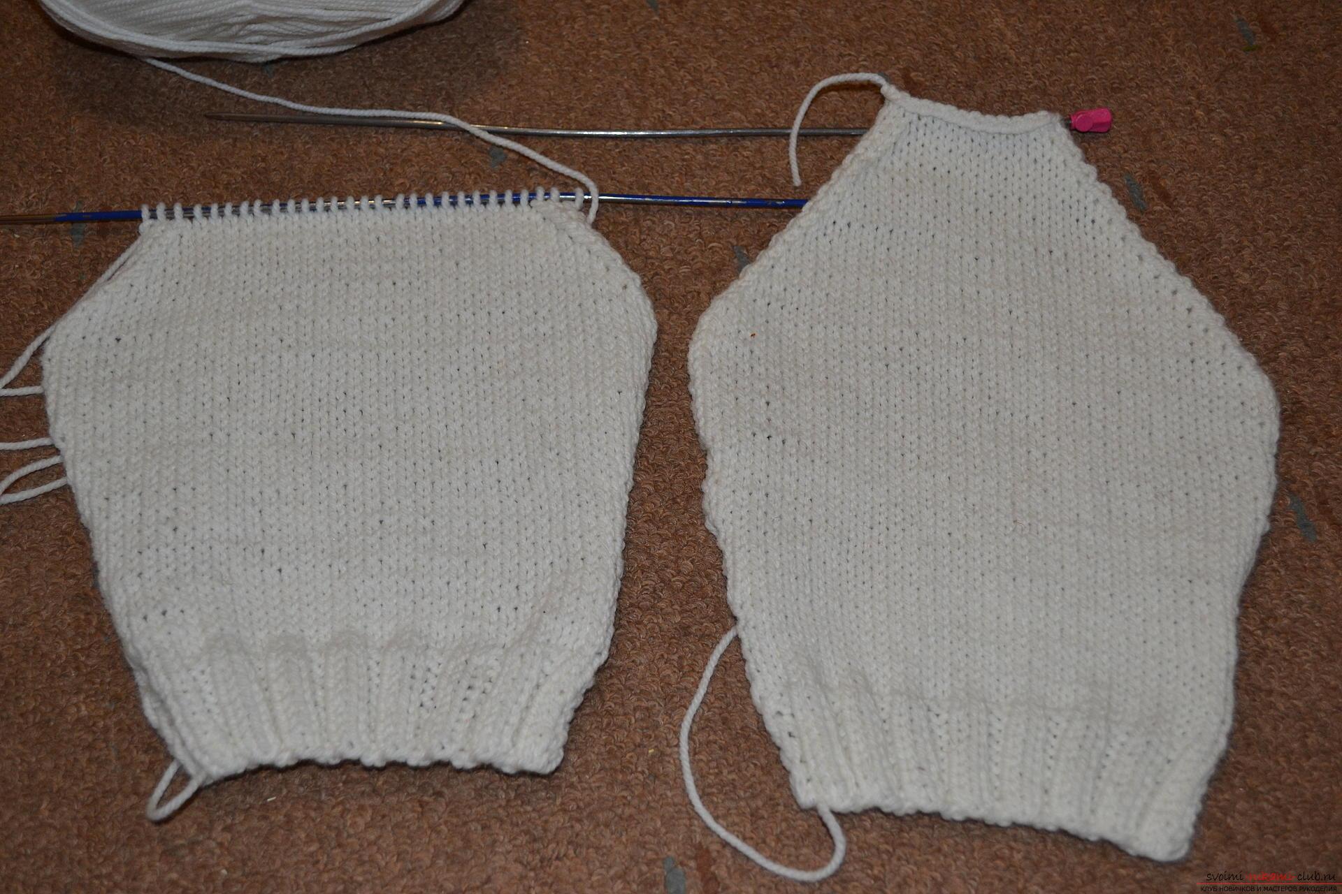 Этот мастер-класс со схемой вязания научит как связать костюм для новорожденного или грудничка спицами.. Фото №11