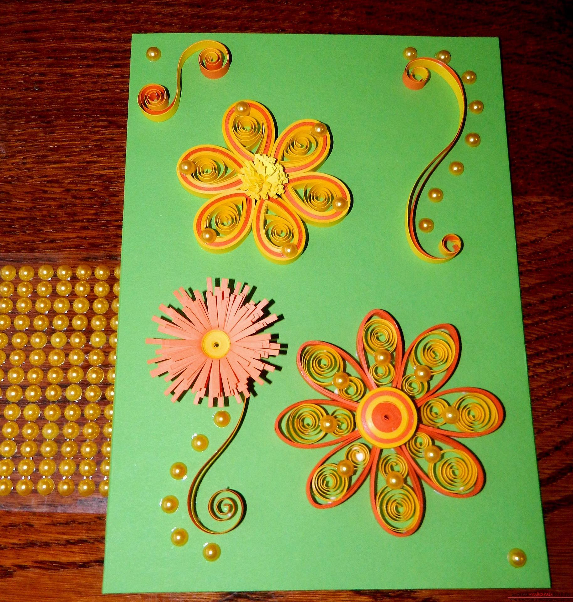 как сделать открытку маме на 8 марта из квиллинга выше