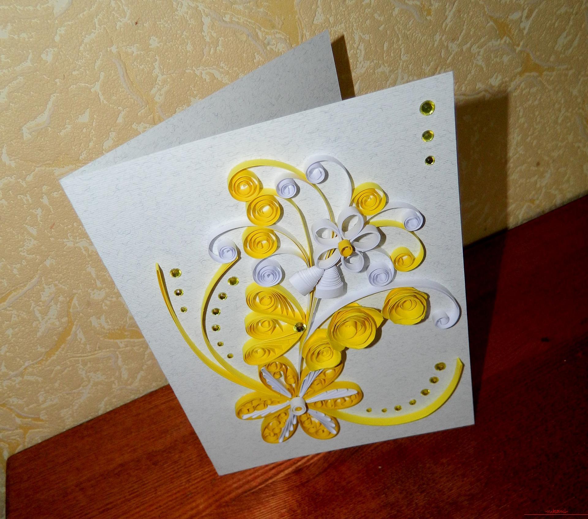 Оформление открытки поделка