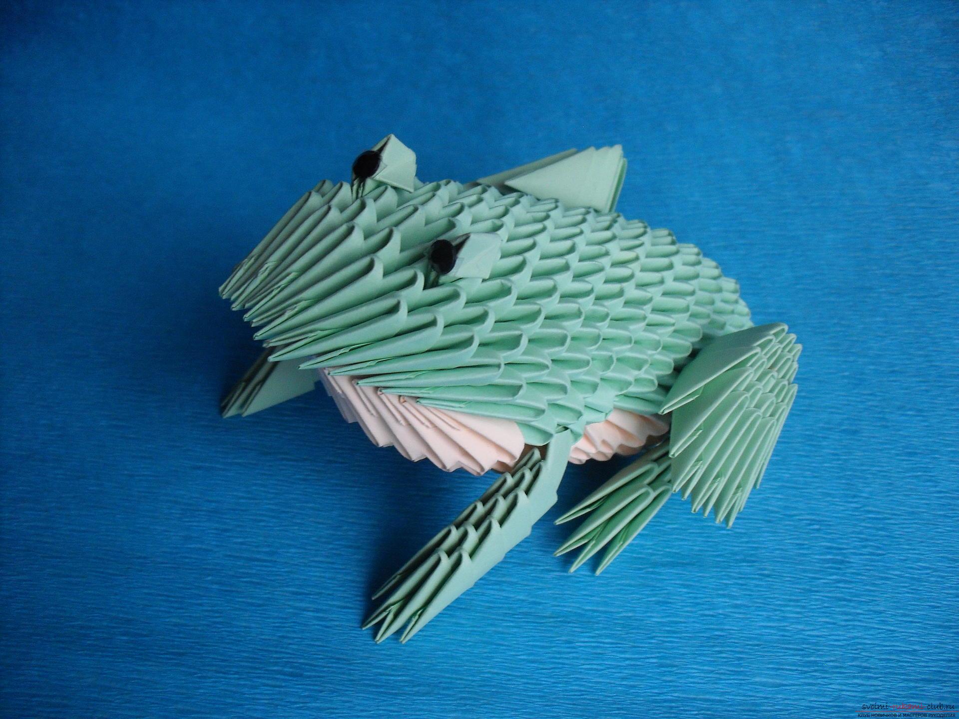 Этот мастер-класс расскажет как сделать поделку из модульных оригами - лягушку.. Фото №24