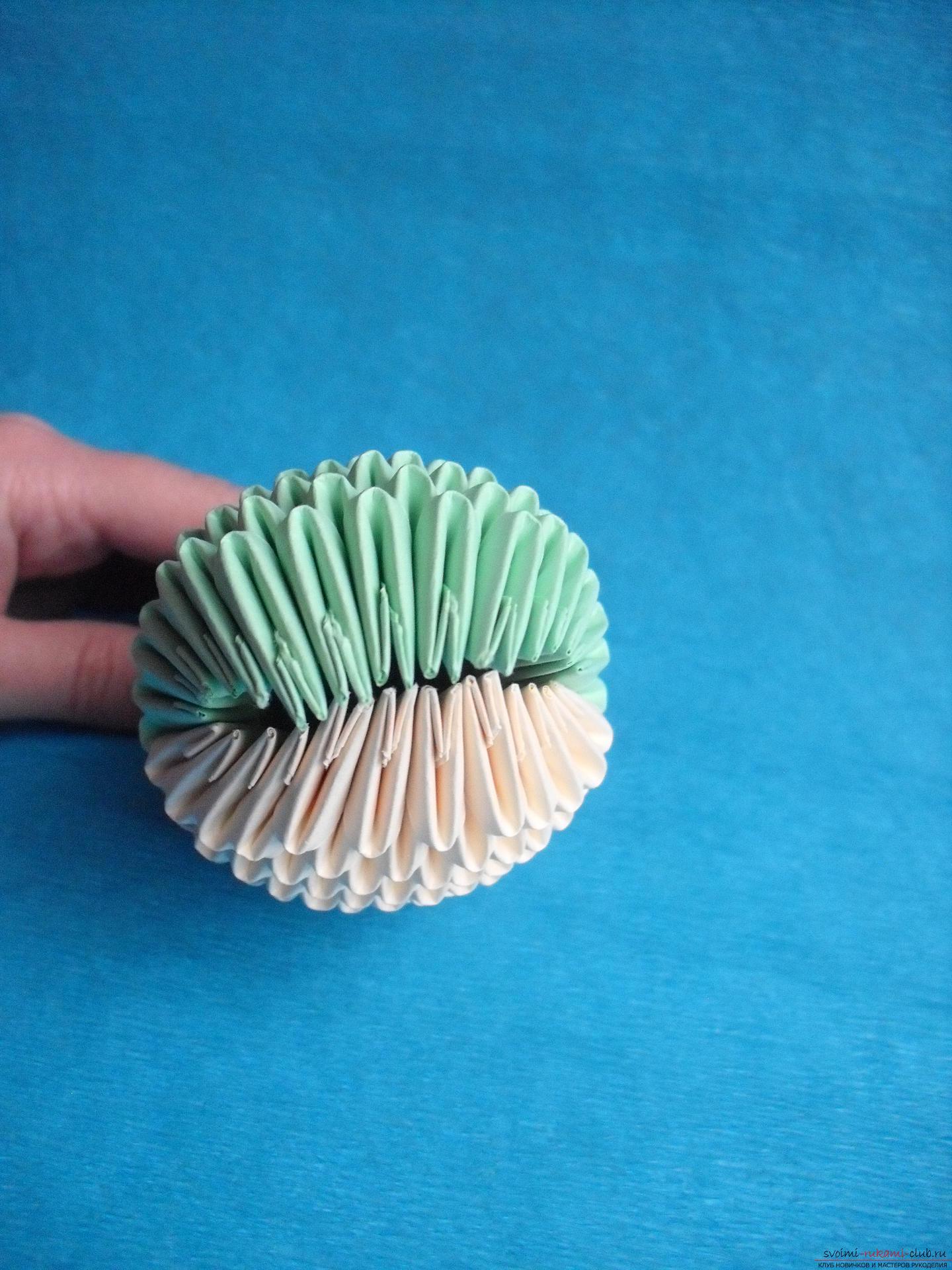Этот мастер-класс расскажет как сделать поделку из модульных оригами - лягушку.. Фото №13