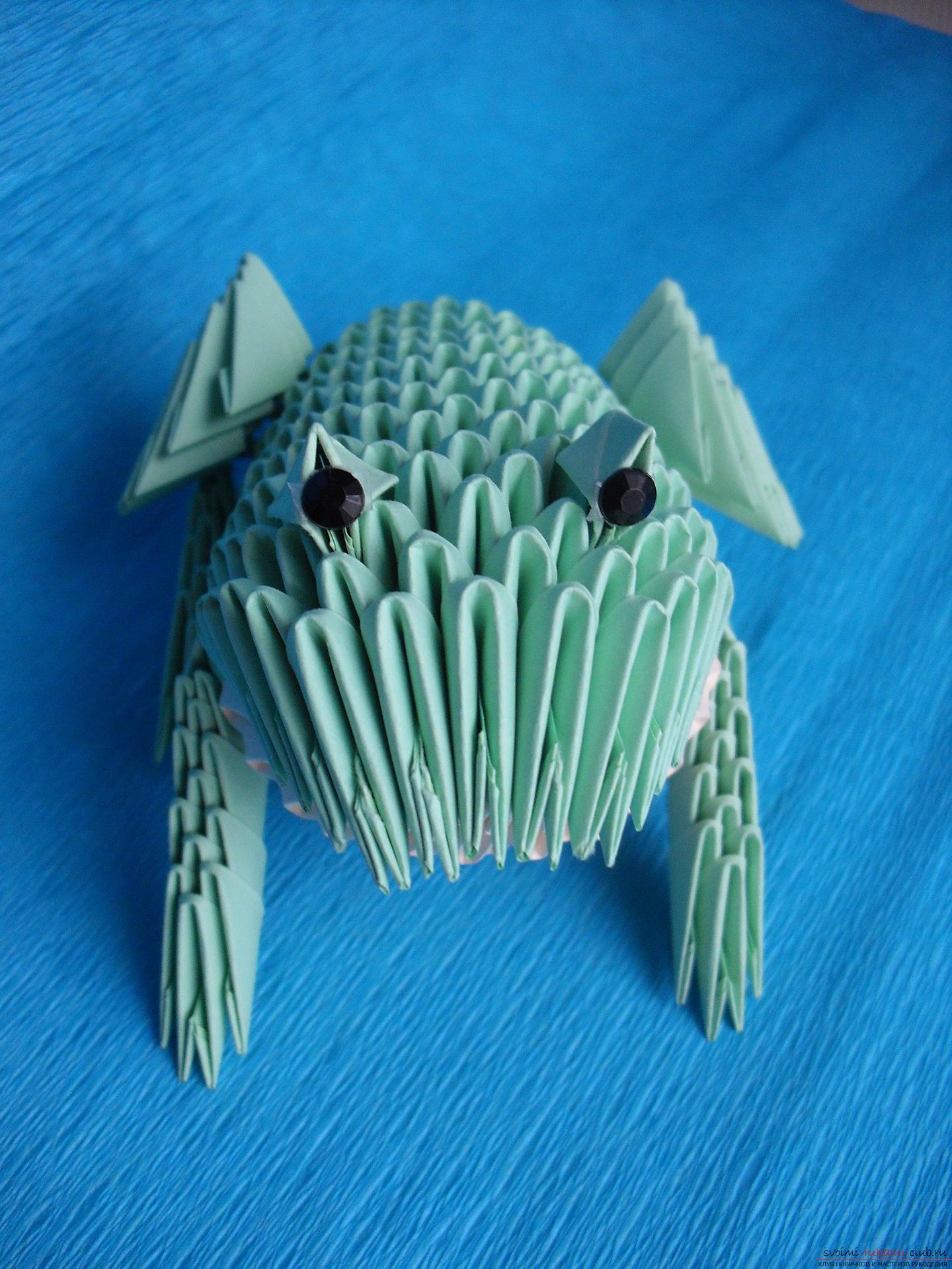 Этот мастер-класс расскажет как сделать поделку из модульных оригами - лягушку.. Фото №23