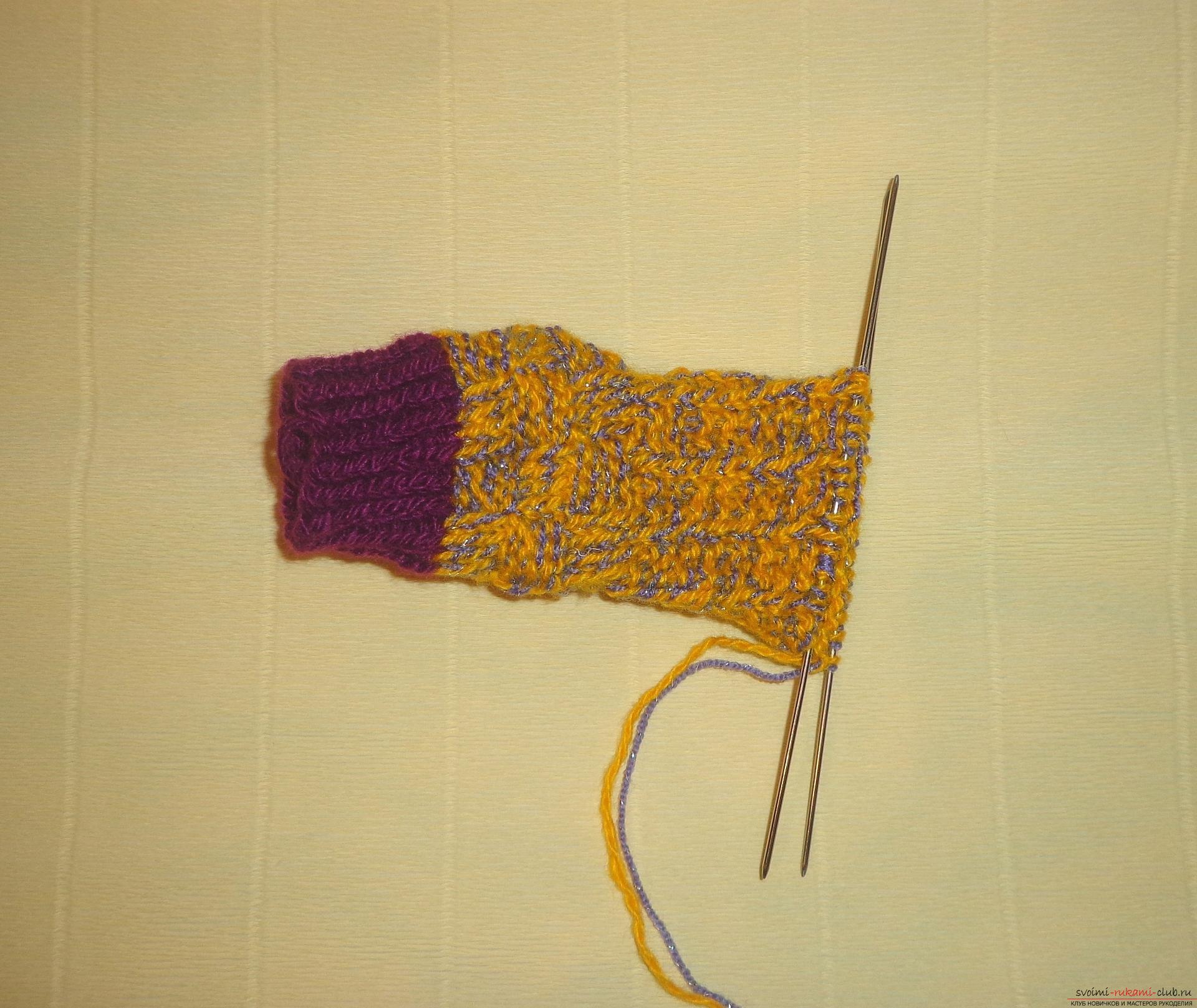 Фото к уроку по вязанию спицами детских носочков «Зимние». Фото №9