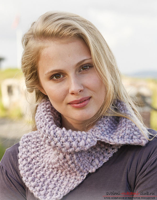 процесса вязания шарфа-