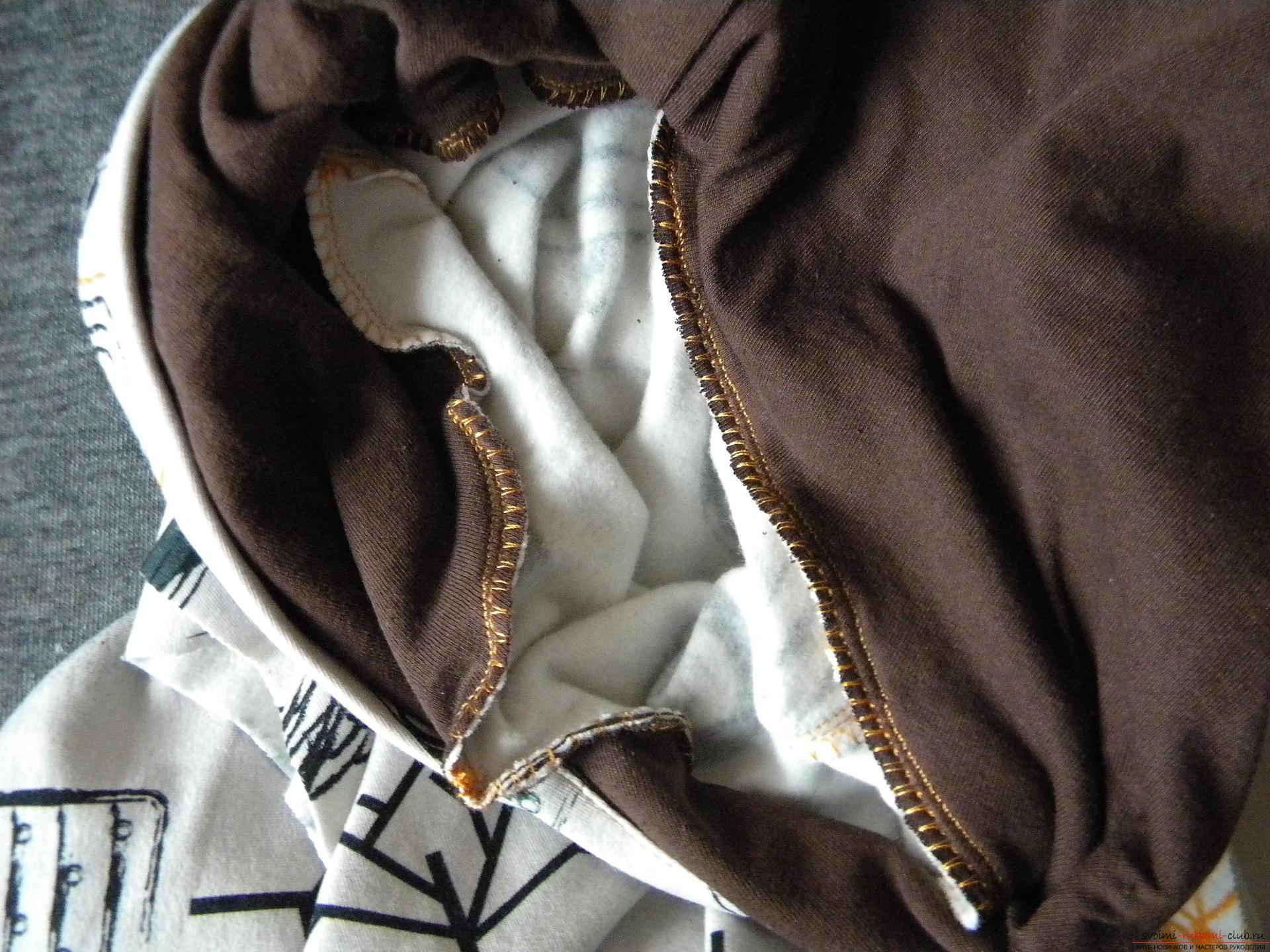 Мастер-класс по шитью подробно описывает и показывает на фото как сшить худи с капюшоном.. Фото №12