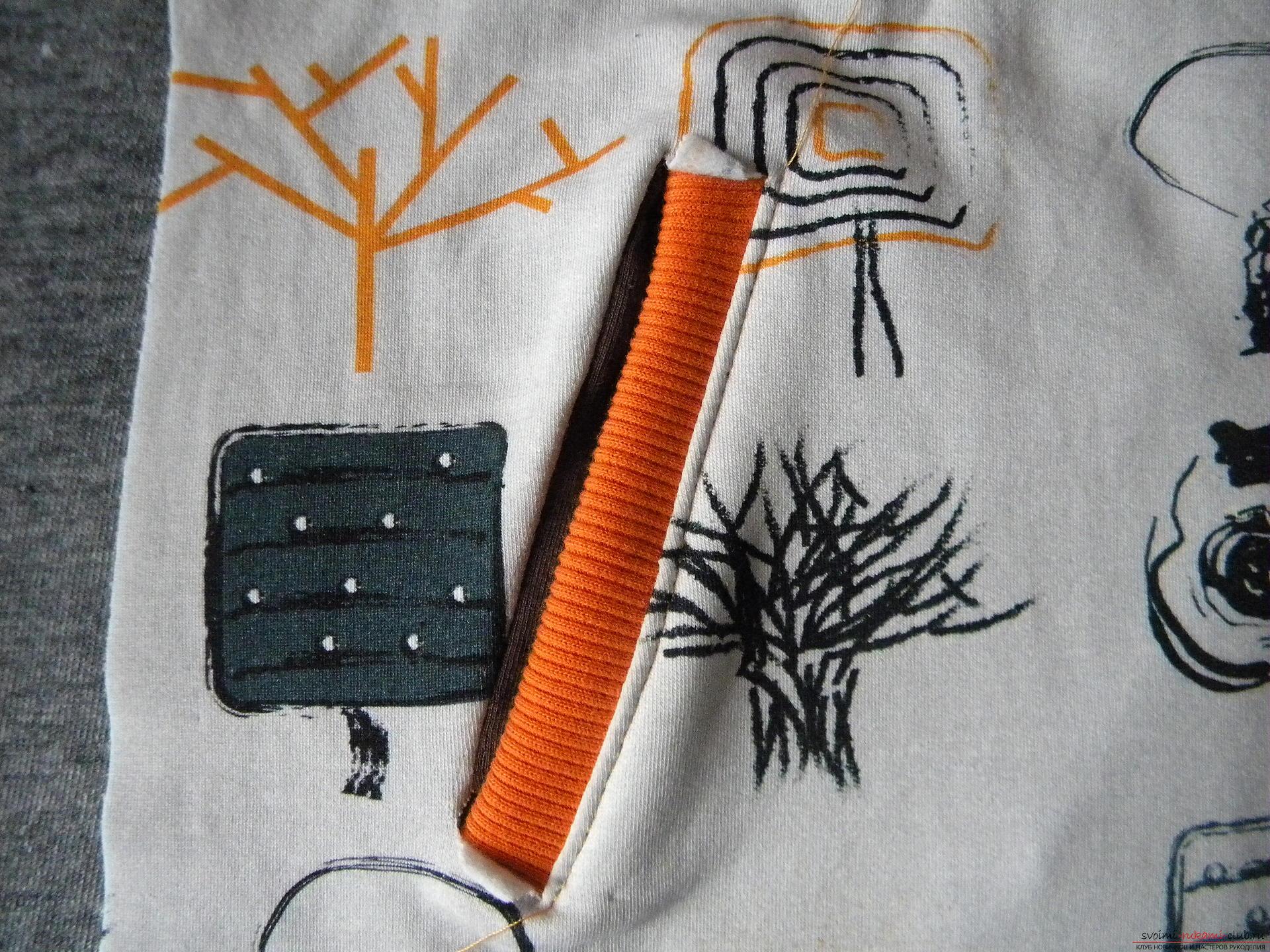 Мастер-класс по шитью научит как производится обработка карманов, делаем карман с листочкой.. Фото №13
