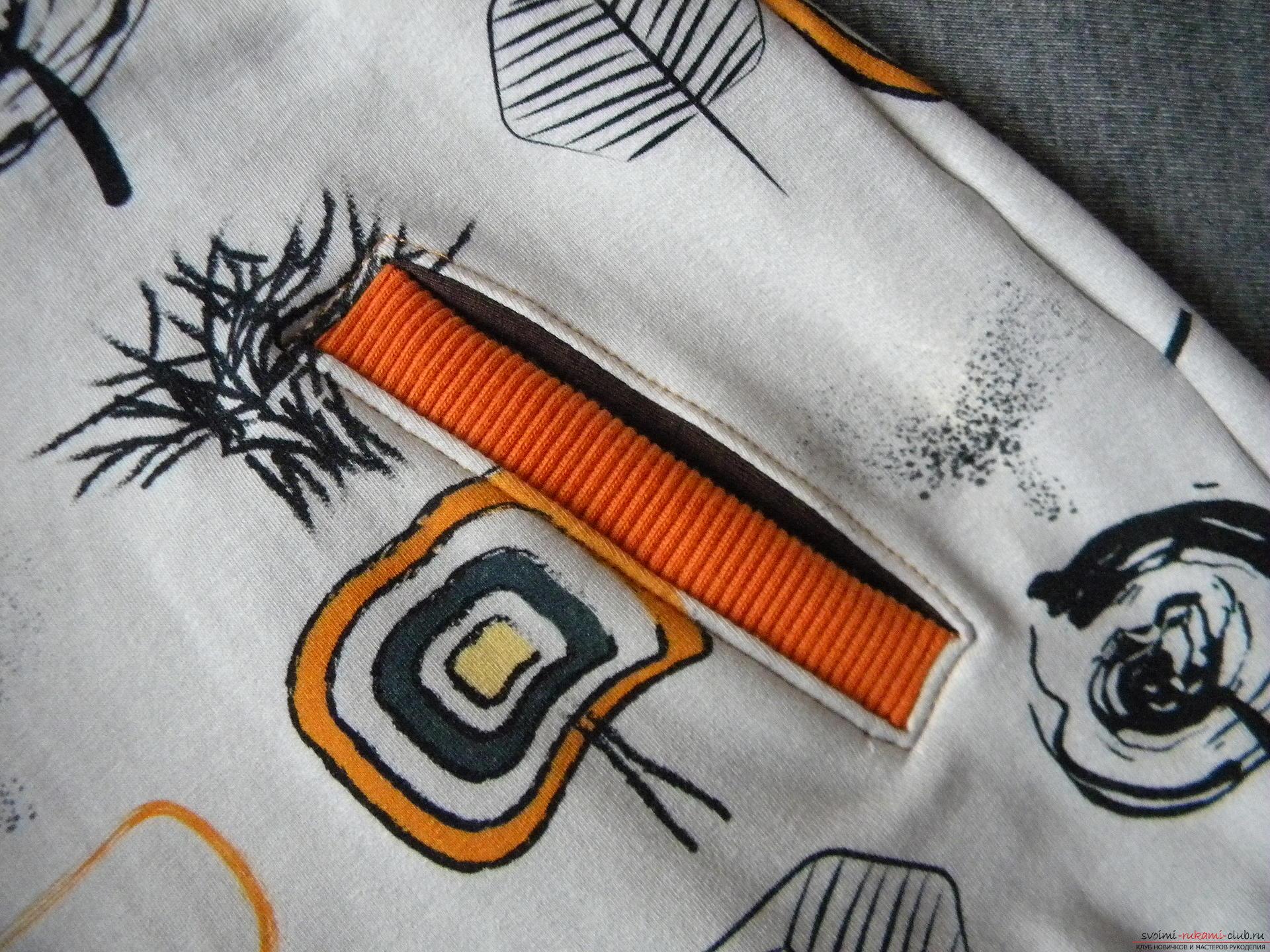 Мастер-класс по шитью научит как производится обработка карманов, делаем карман с листочкой.. Фото №1