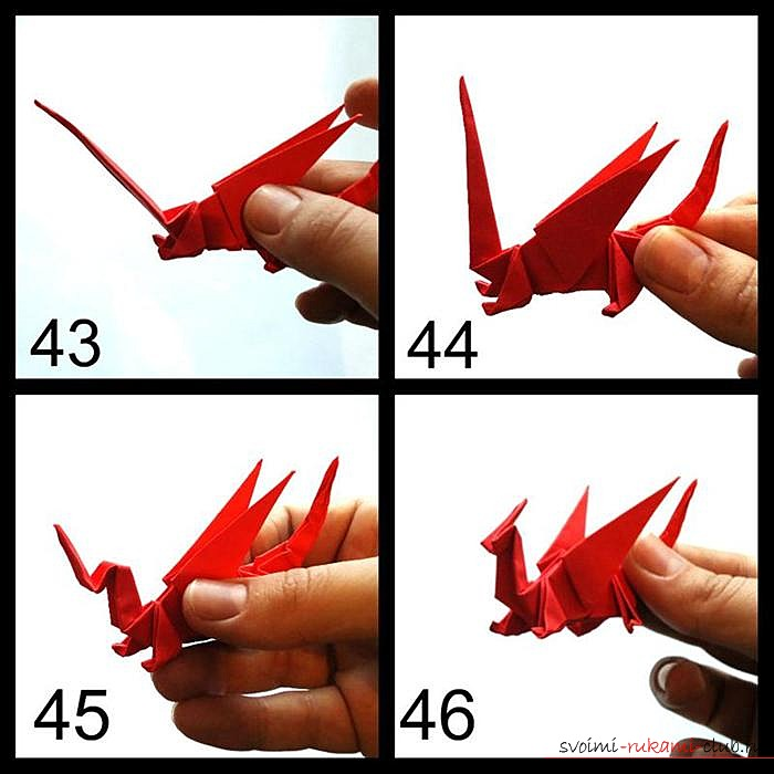Оригами дракон, схема.