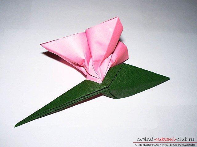 Складываем простой цветок из бумаги. Мастер-класс для начинающих с подробной схемой.