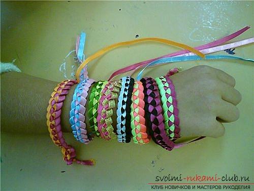 Плетем браслеты из лент своими руками. Фото №4