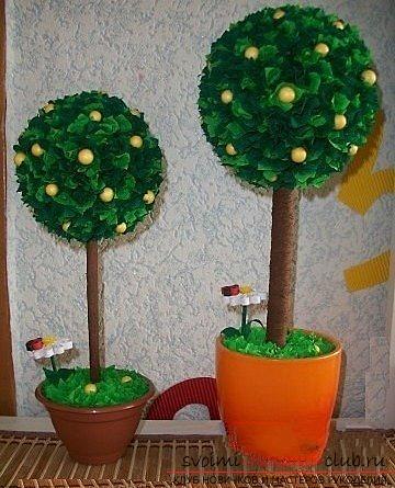 Деревья из гофрированной бумаги своими руками
