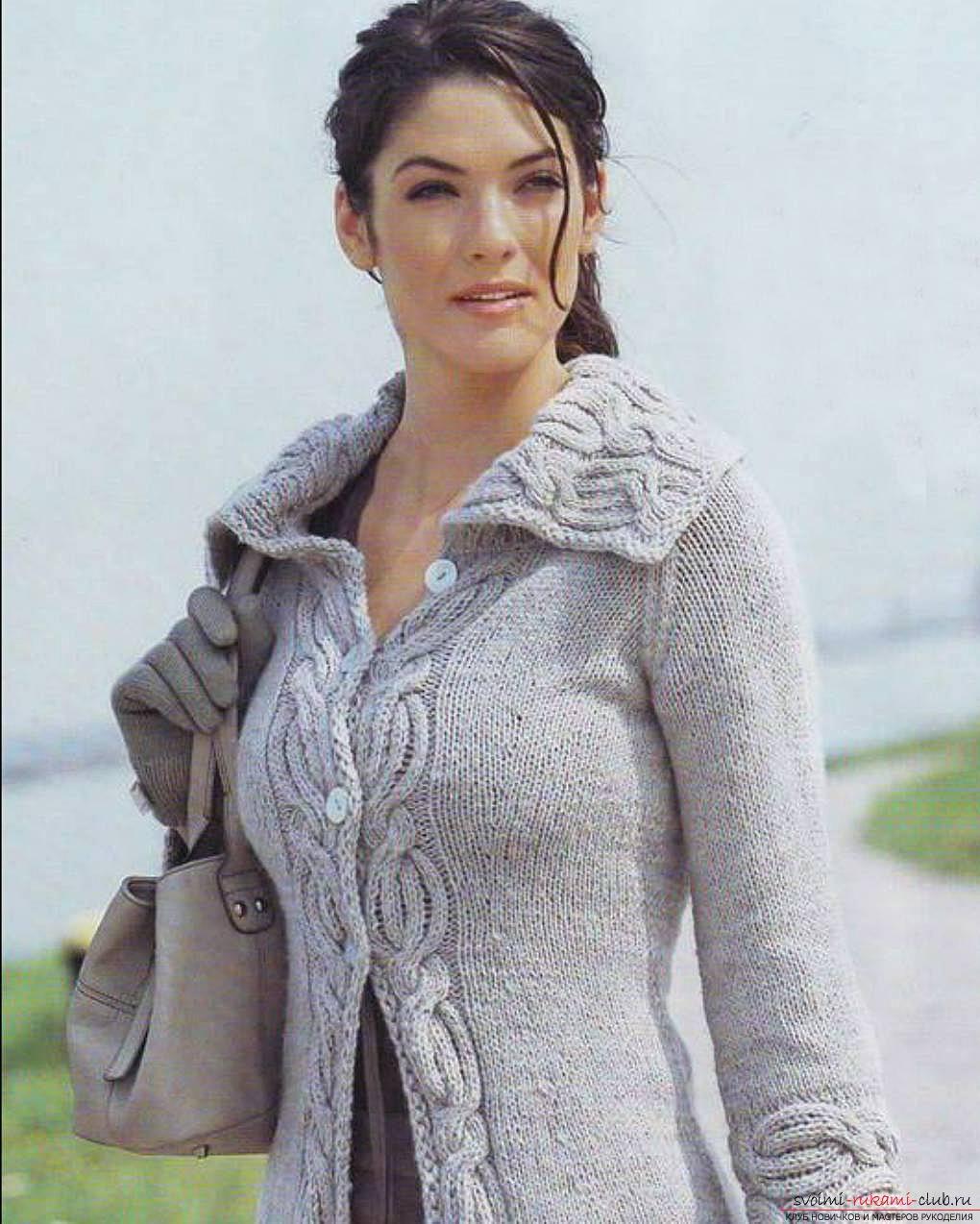 свитер вязаные спицами женщине полной схема