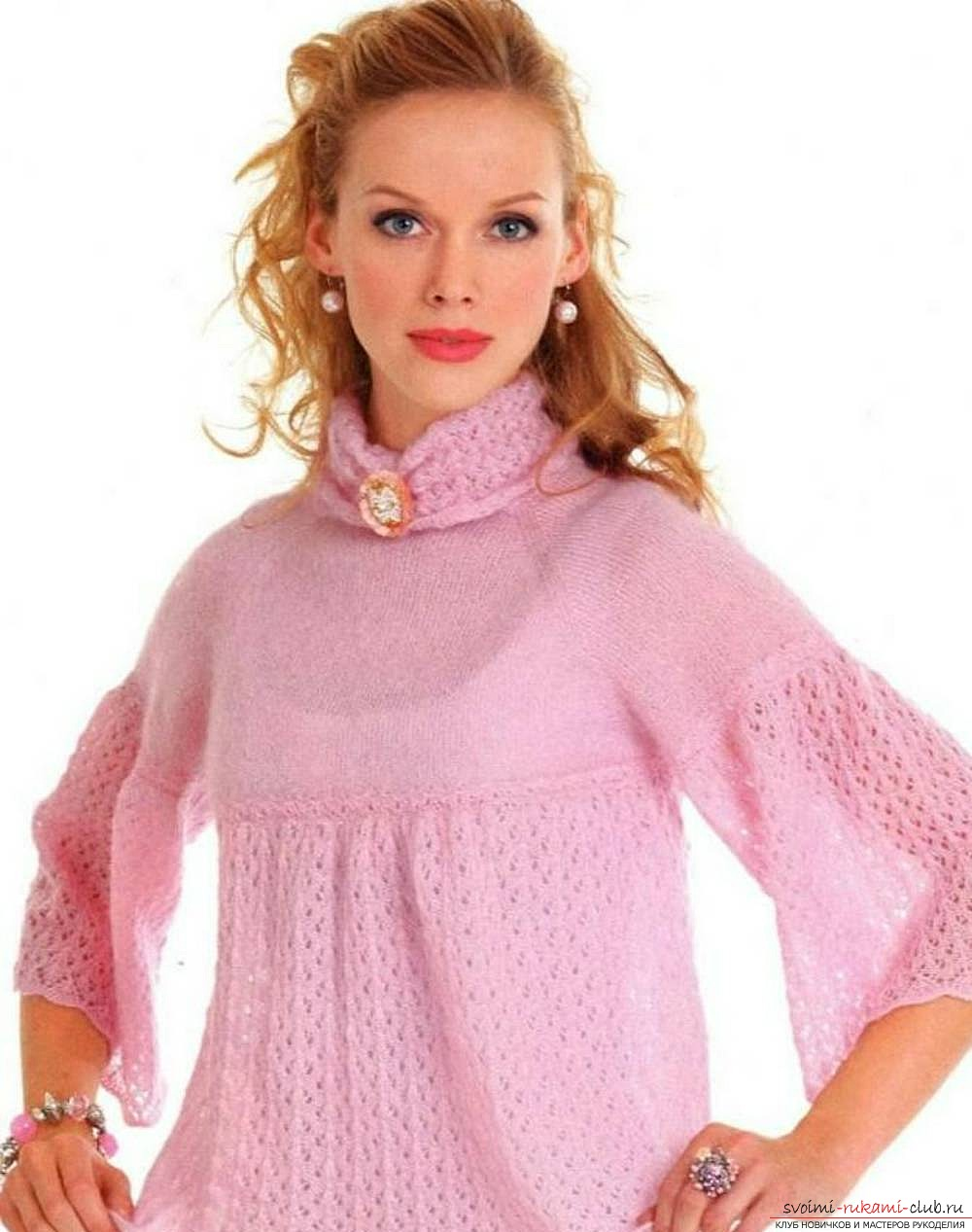 схема пуловера спицами из мохера