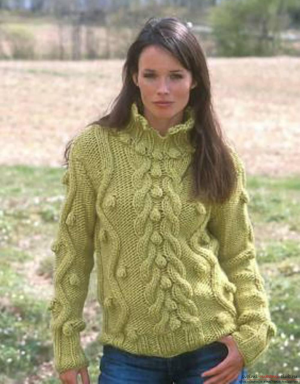 Вязание спицами модных свитеров для женщин - Женский вязаный свитер спицами Новые пропорции