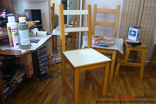 Декупаж стула с использование пигментной краски и подробный мастер класс. Фото №1