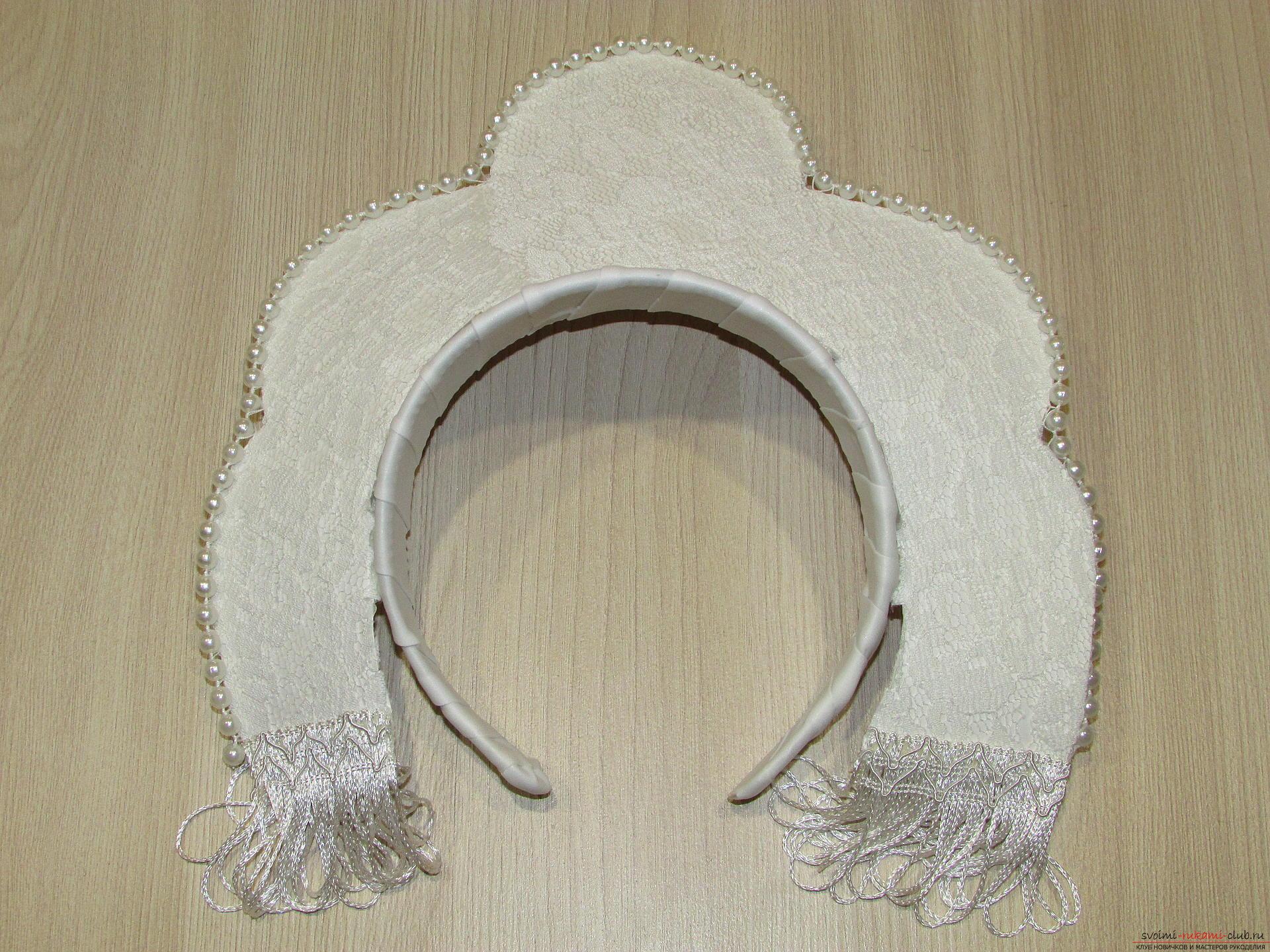 Мастер-класс покажет, как сделать своими руками- головной убор для Снегурочки – корону.. Фото №12