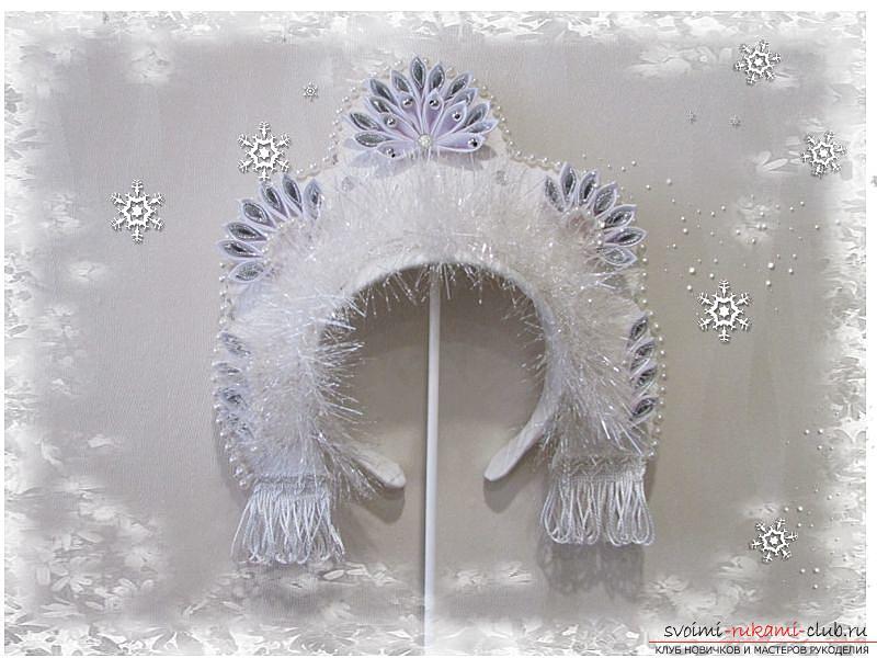 Мастер-класс покажет, как сделать своими руками- головной убор для Снегурочки – корону.. Фото №27
