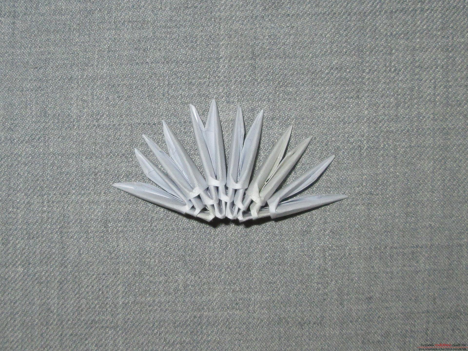 Ракушка для упаковки небольшого подарка собрана в технике модульное оригами в нашем мастер-классе с описанием и фото.. Фото №2