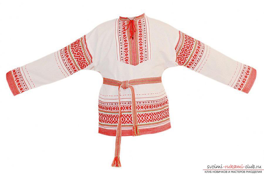 Вышивка мужской народной рубахи