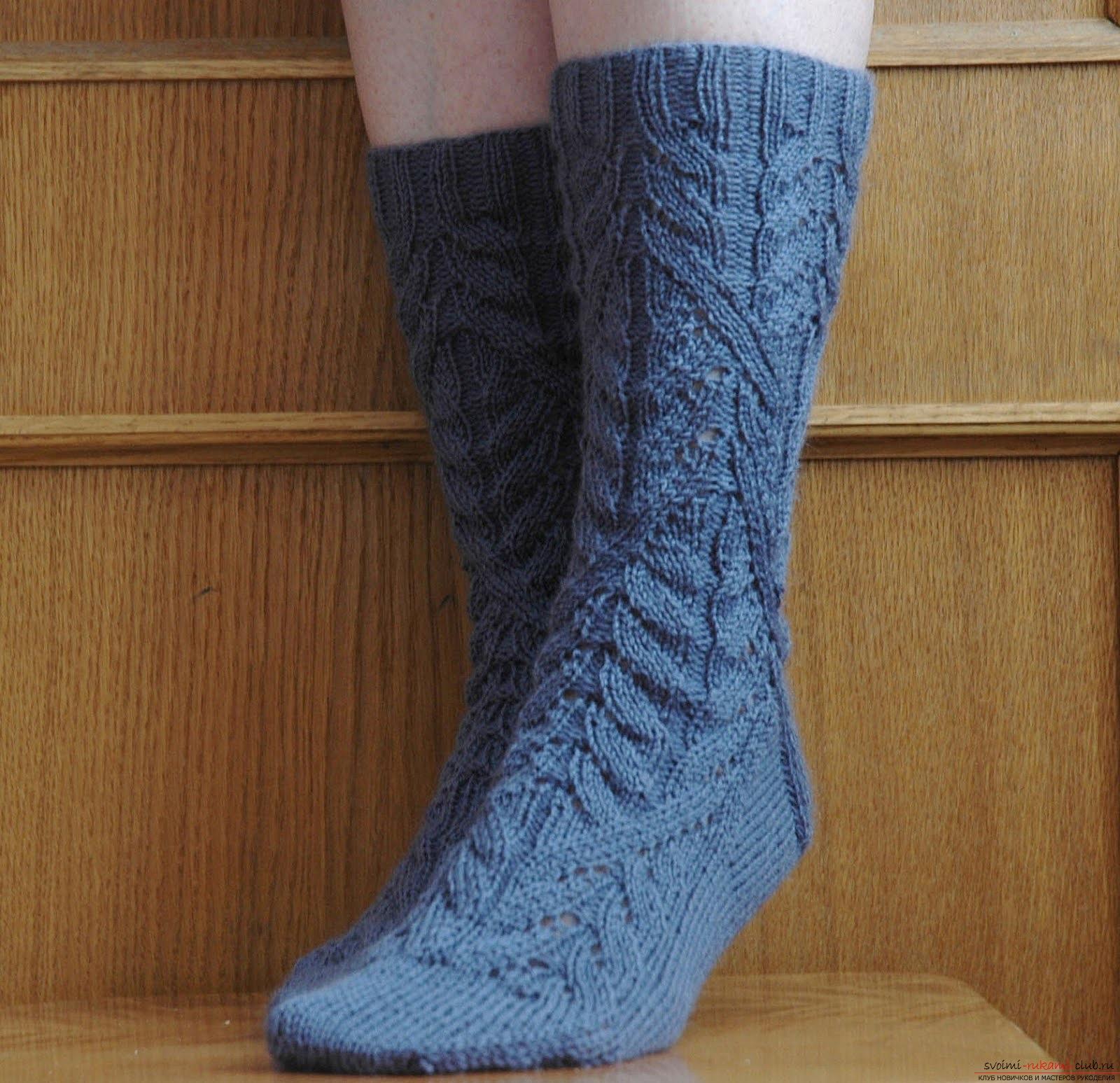 вязание носков на 2 спицах по схеме