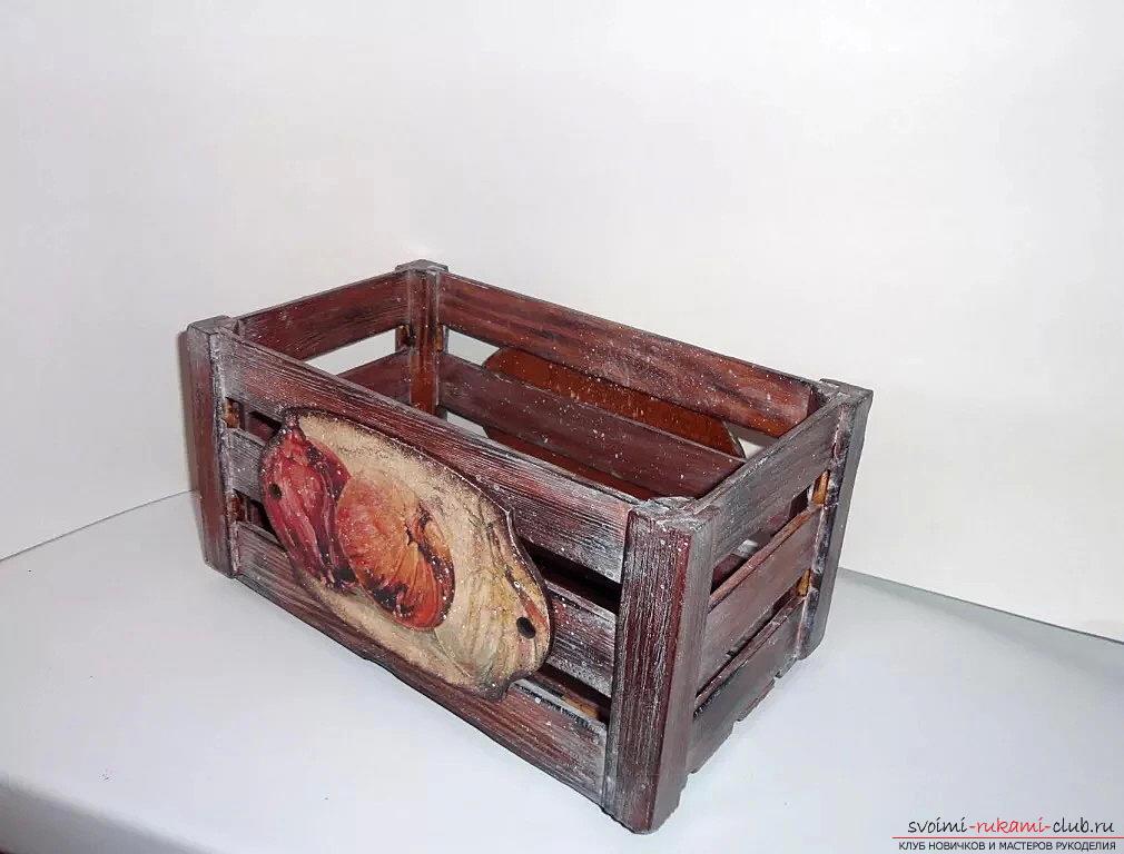 Декупаж ящика для овощей. Фото №3