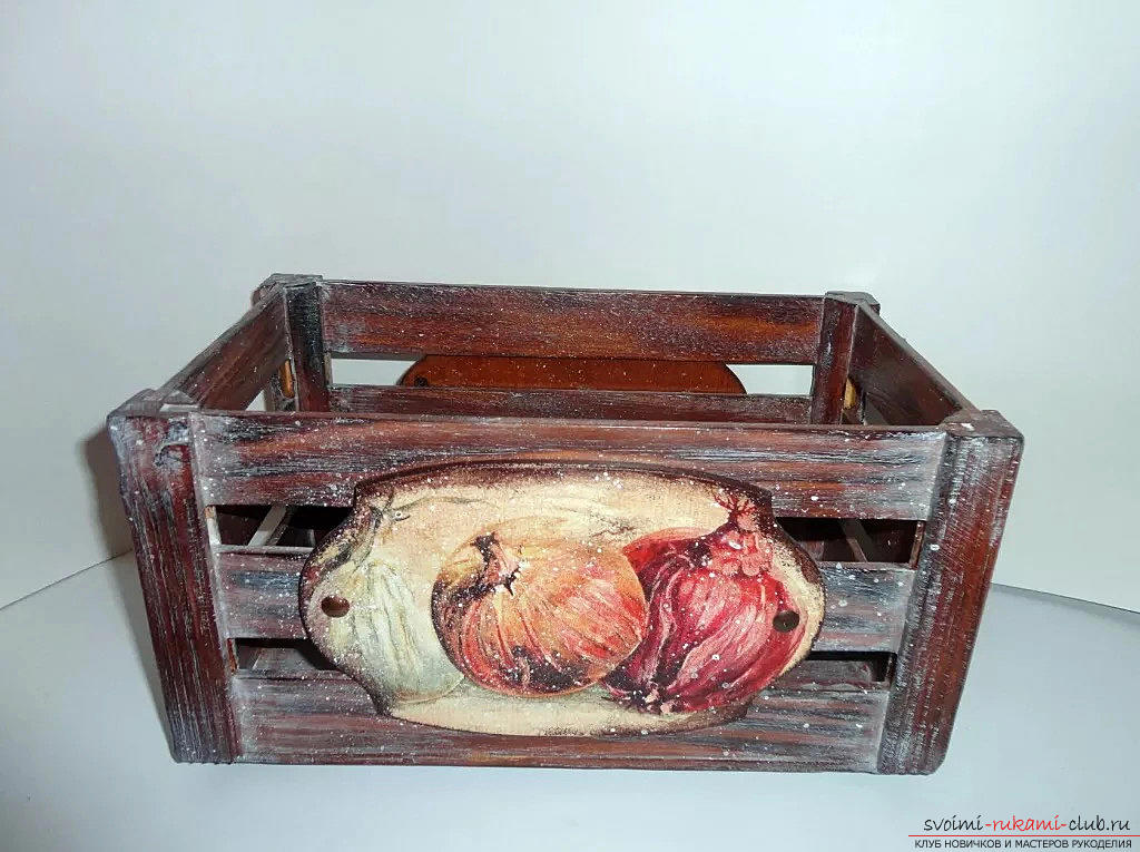 Декупаж ящика для овощей. Фото №2