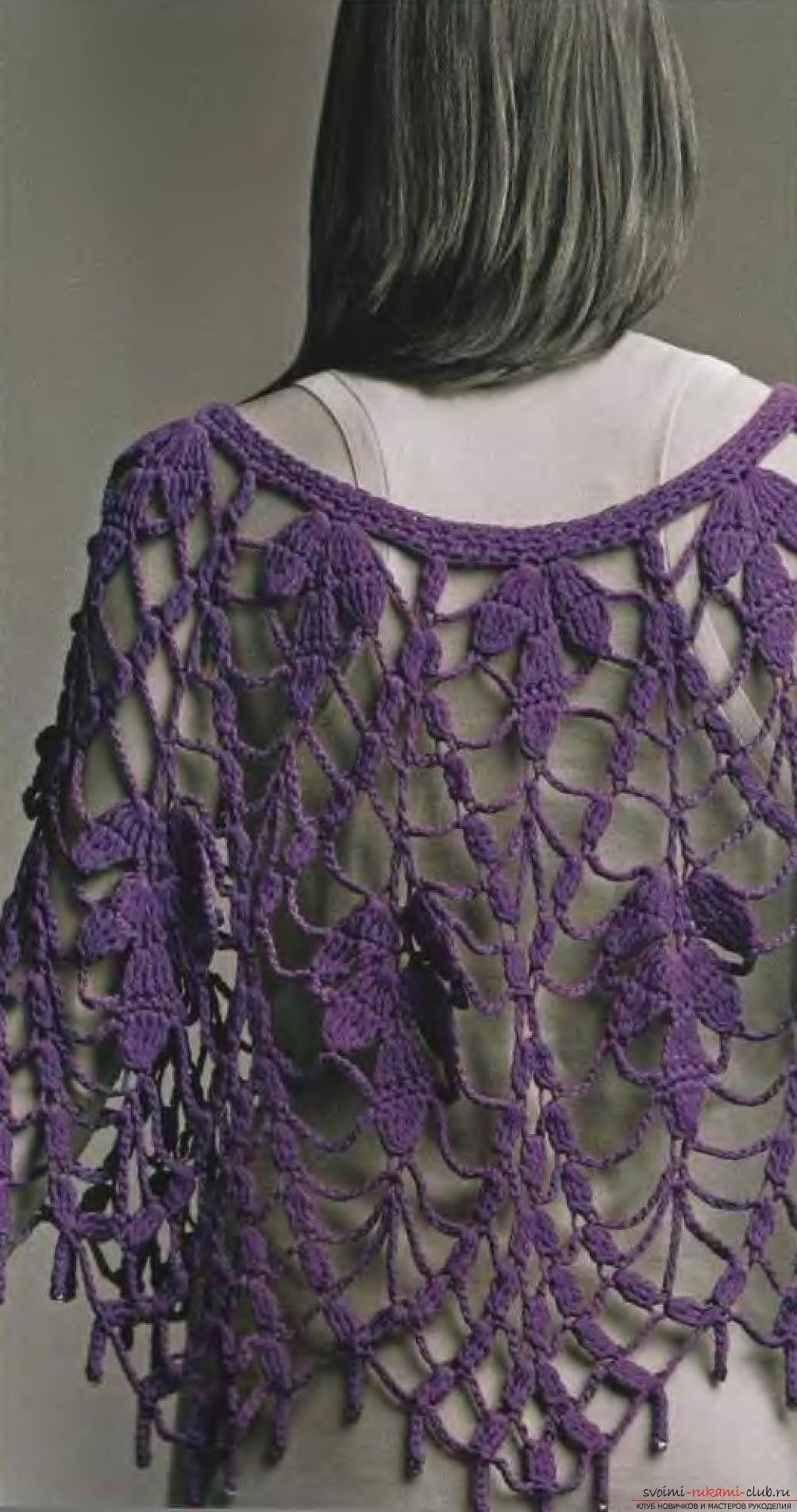 вязаная крючком красивая женская шаль. Фото №3