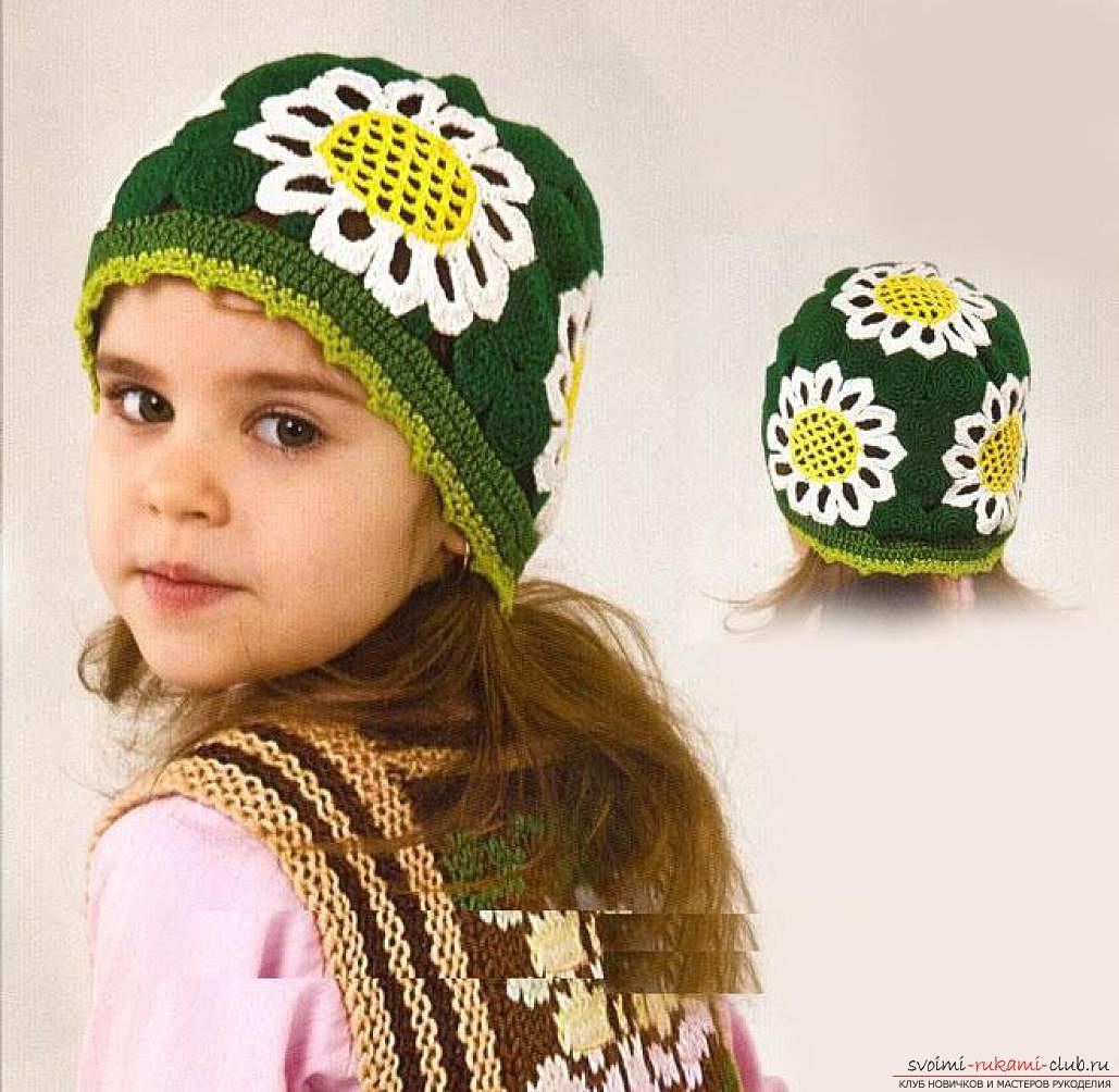 вязаная крючком стильная женская шапочка. Фото №3