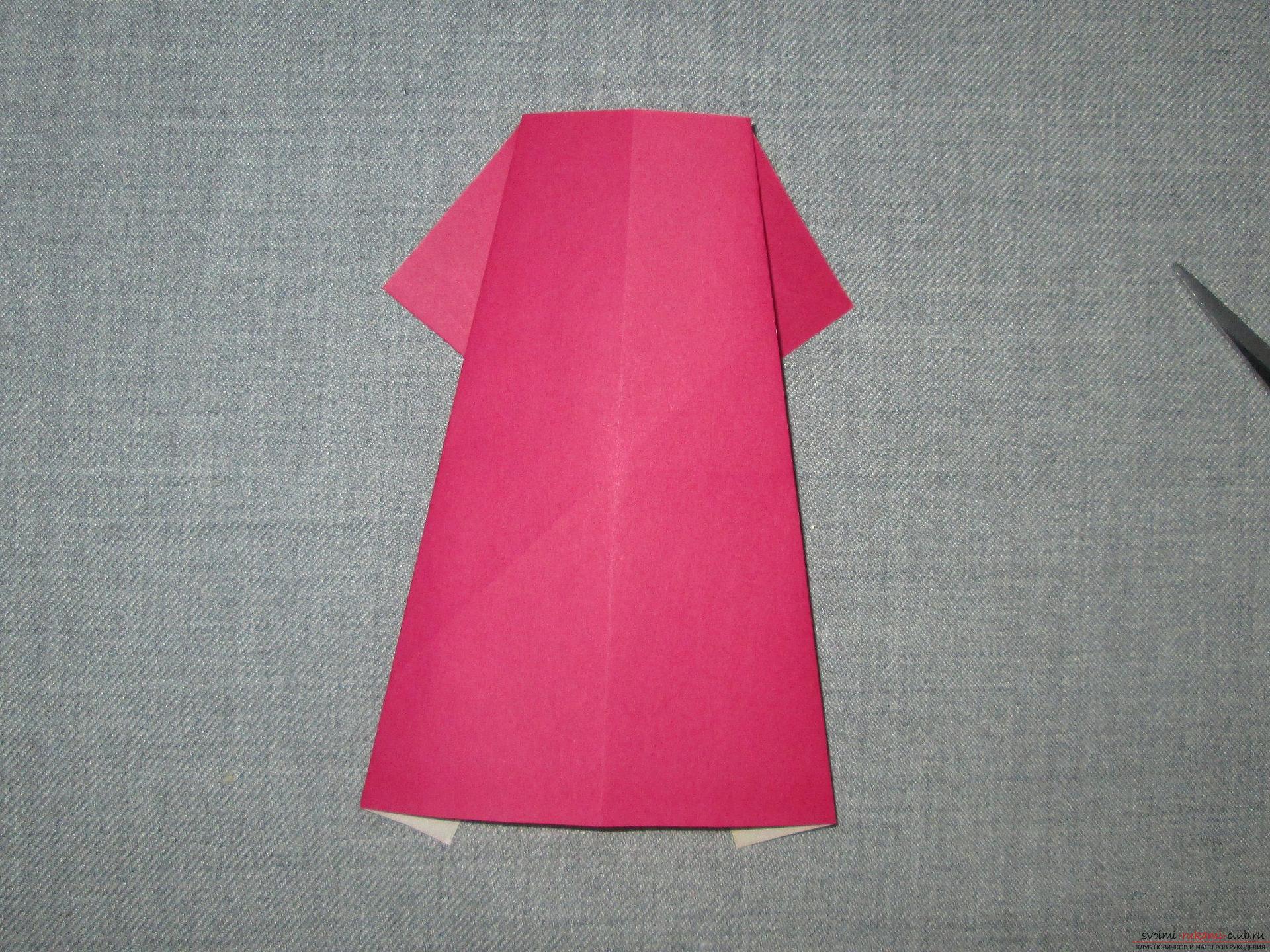 оригами платье из бумаги схема