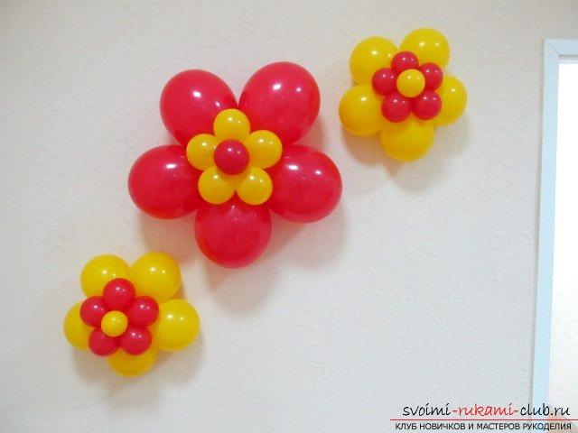 Цветы из шаров на стену своими руками 12