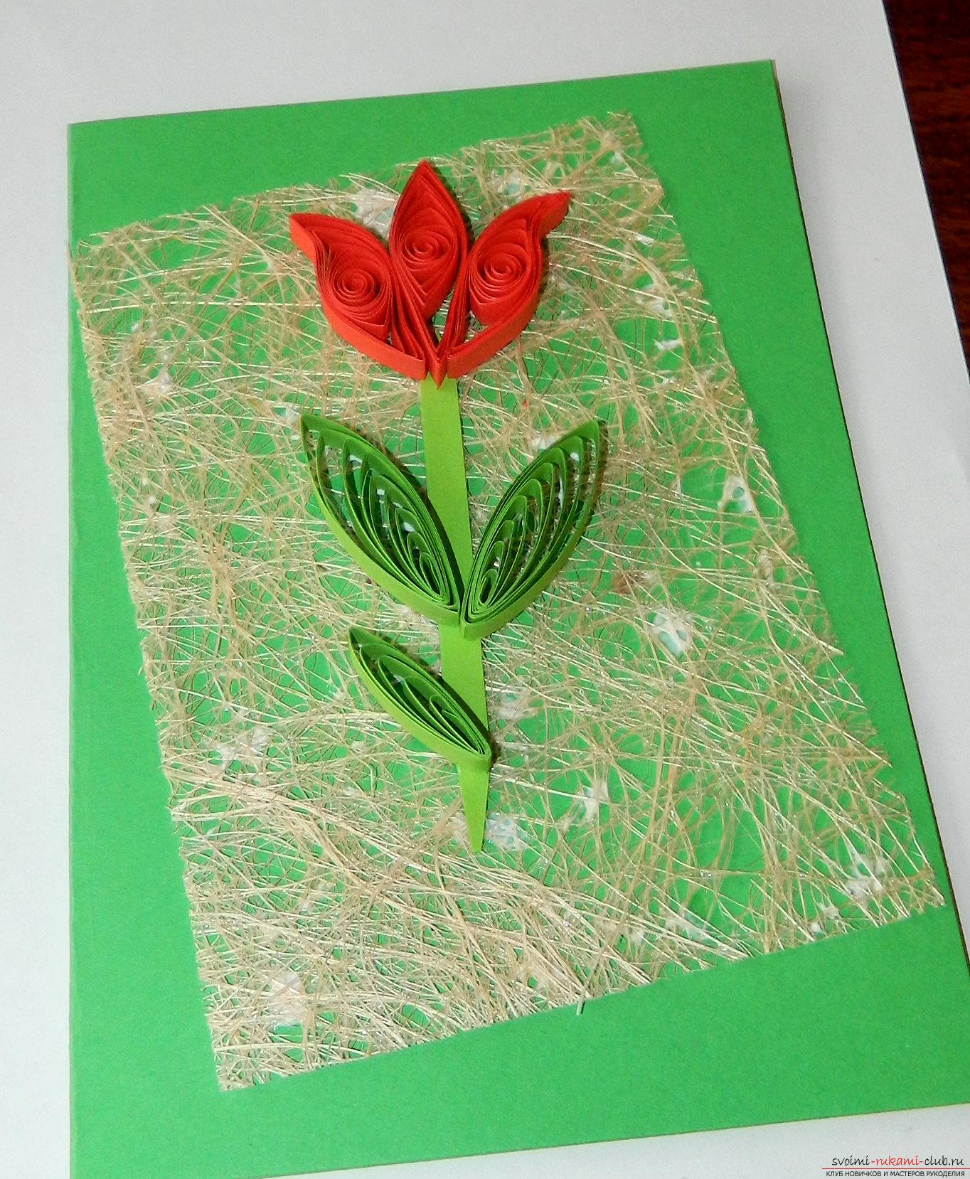 как сделать открытку маме на 8 марта из квиллинга уши