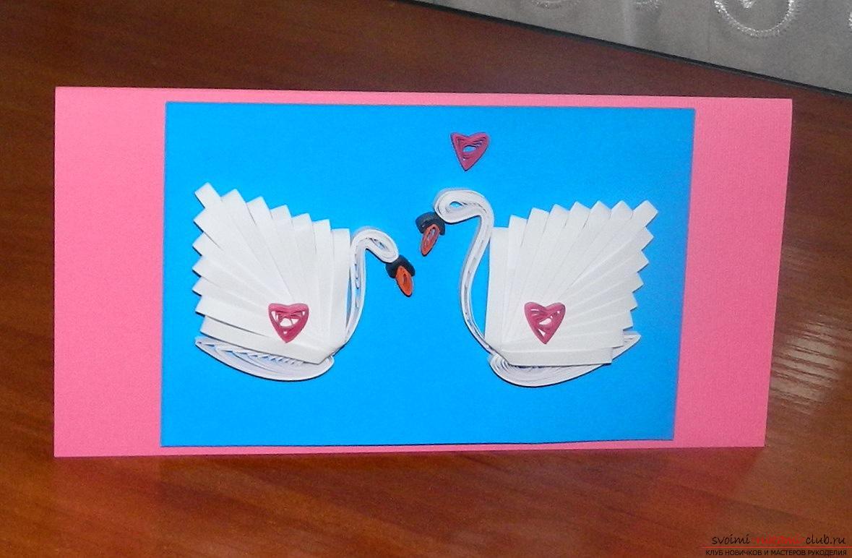 Этот мастер-класс и описания покажут как сделать открытку с лебедями в технике квиллинг.. Фото №1