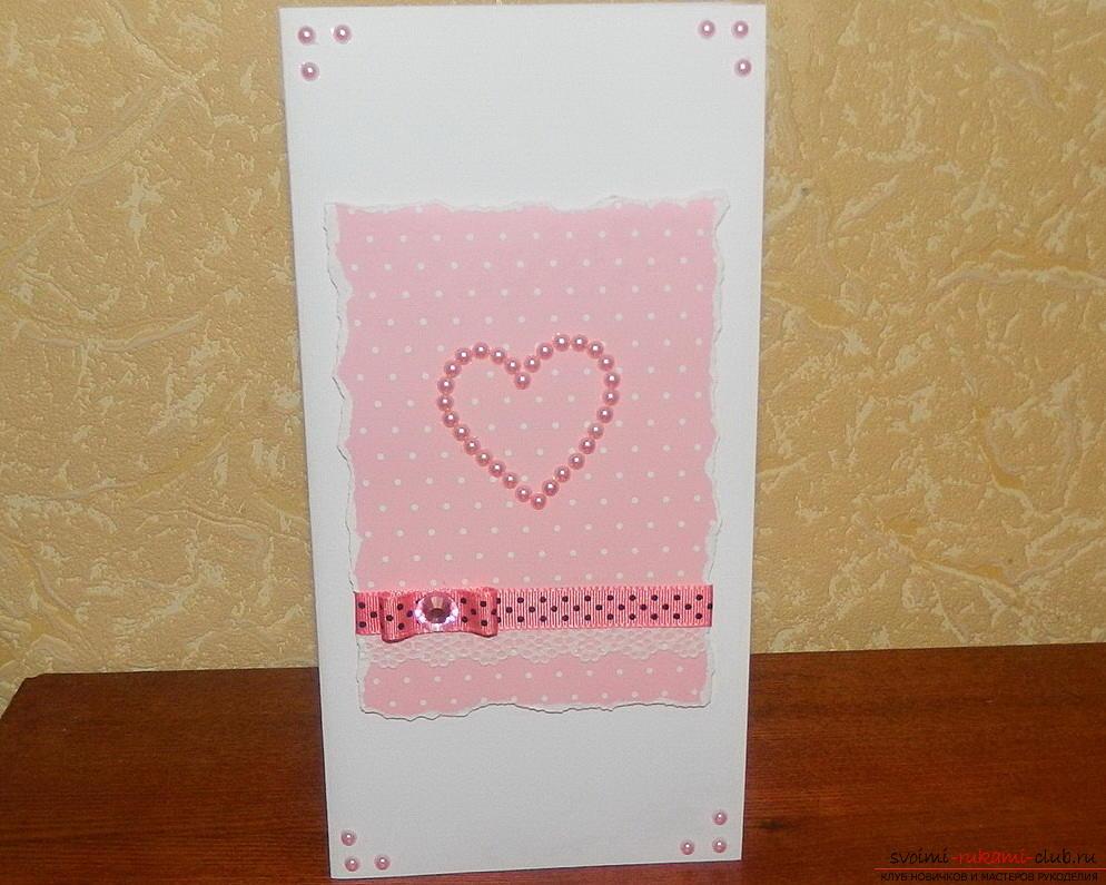 Красивые открытки своими руками поможет сделать наш мастер-класс, это валентинки ко дню влюбленных.. Фото №13