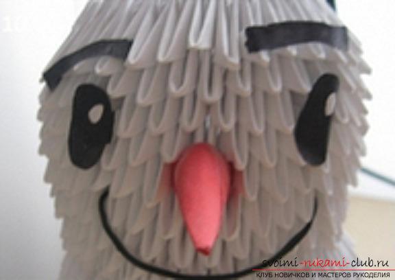 модульное оригами снеговик. Фото №11