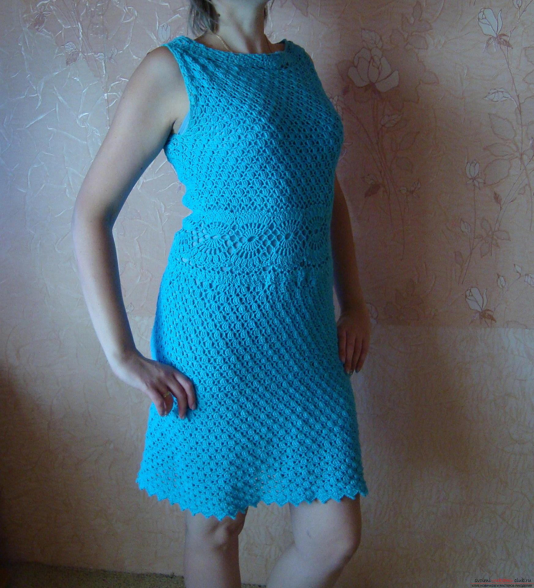 вязание крючком платья снежинка схема повнистю
