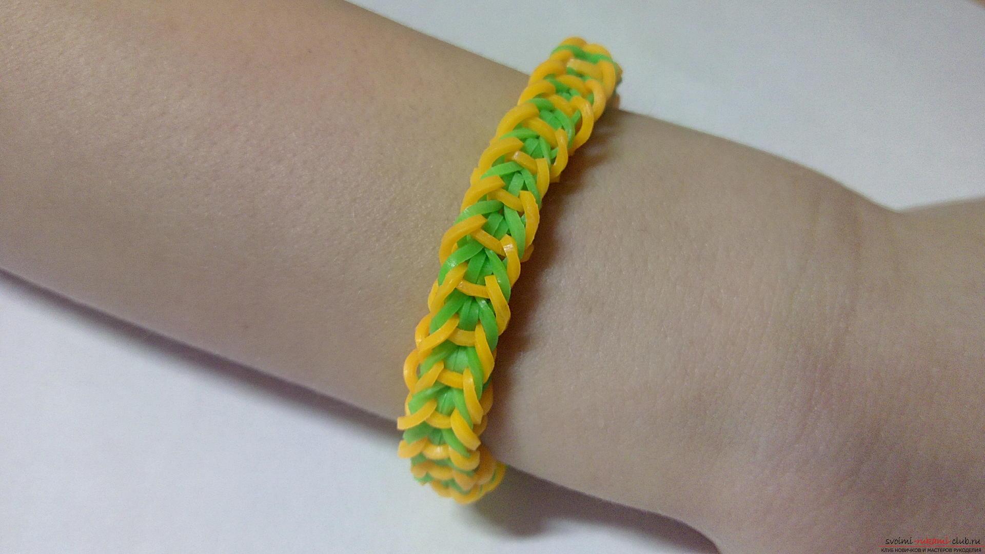 плетение из резиночек бантик схема