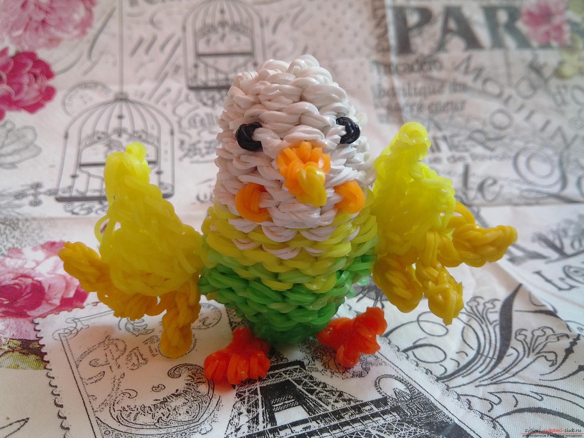 Как сделать из резинки попугая