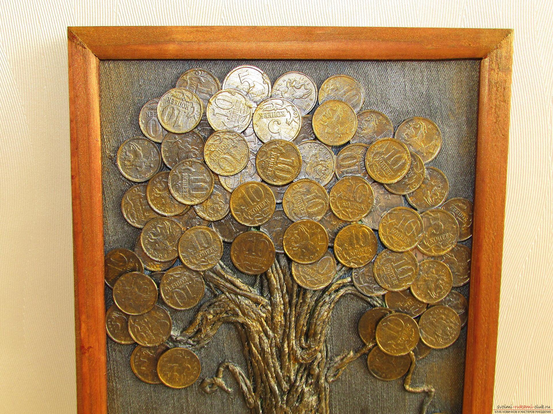 Мастер-класс покажет как сделать денежное дерево из монет своими руками.. Фото №18