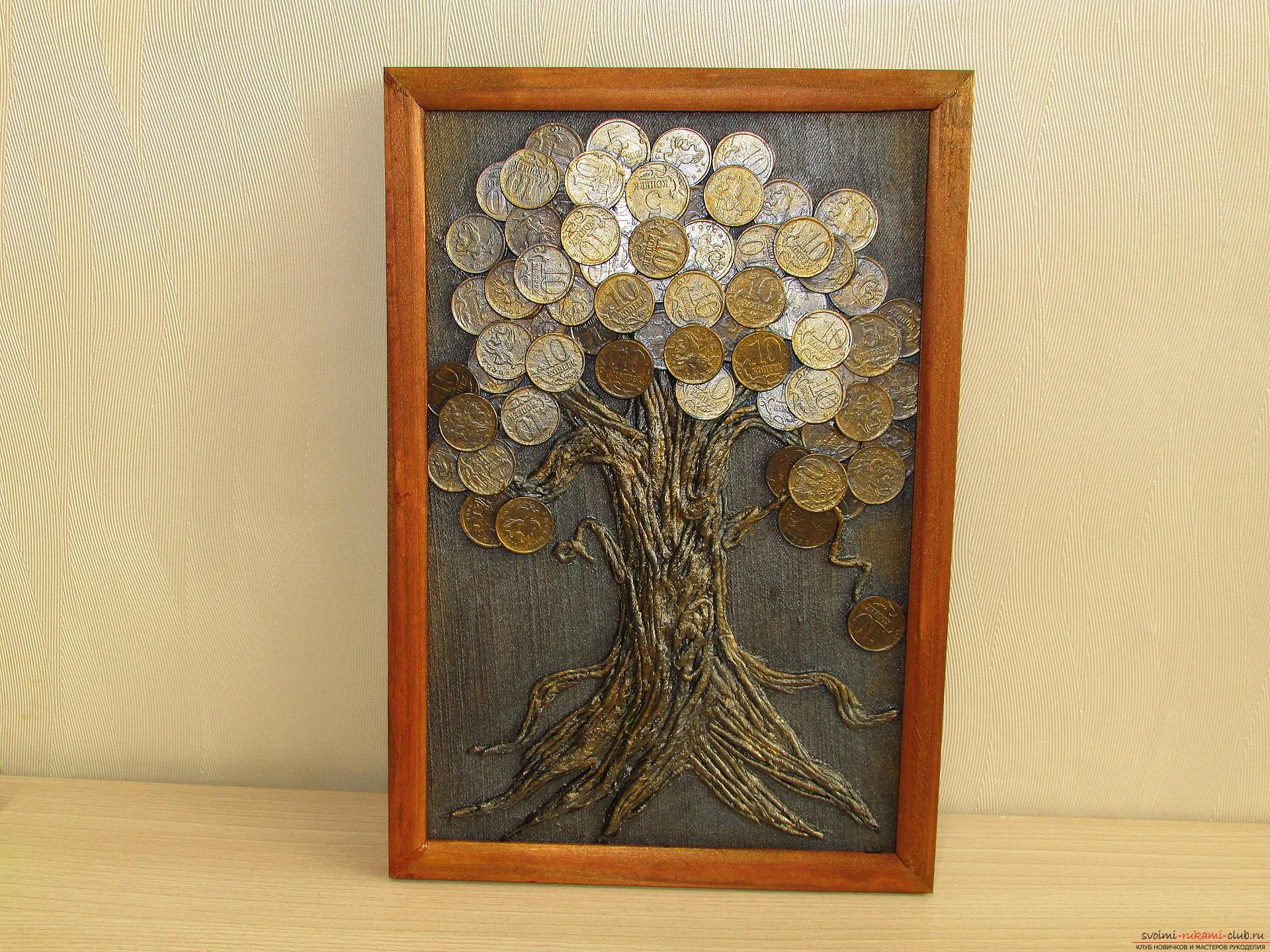 Мастер-класс покажет как сделать денежное дерево из монет своими руками.. Фото №17