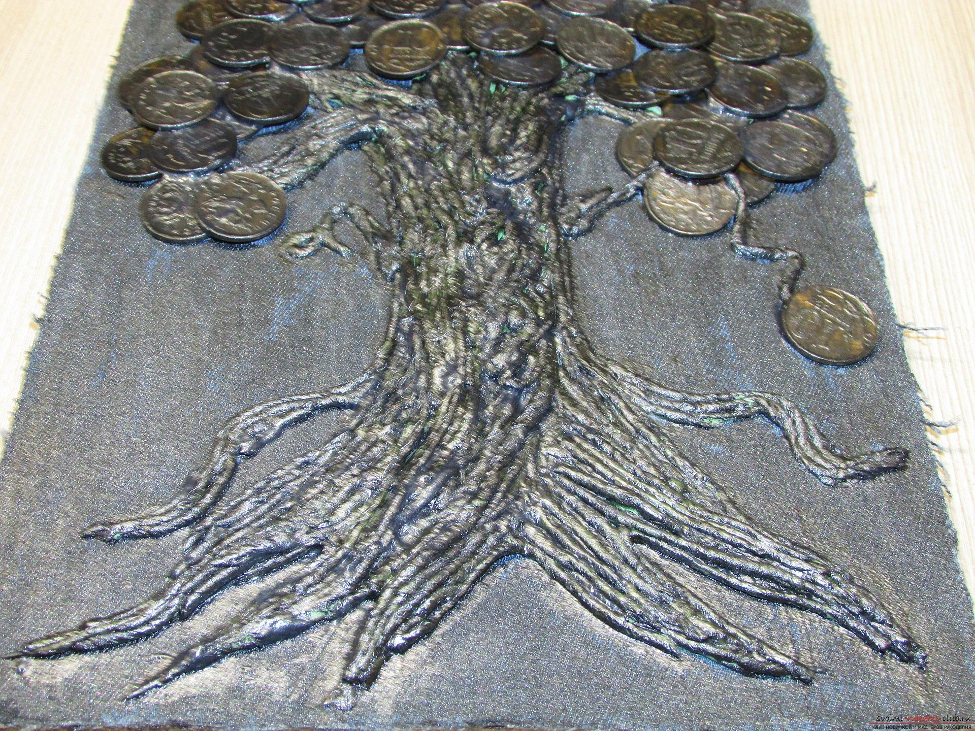 Мастер-класс покажет как сделать денежное дерево из монет своими руками.. Фото №13