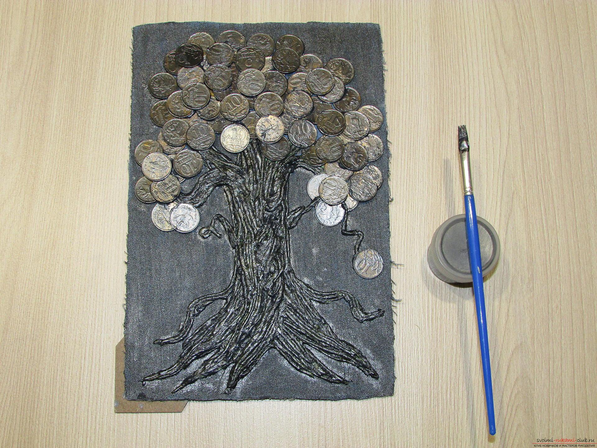 Мастер-класс покажет как сделать денежное дерево из монет своими руками.. Фото №12