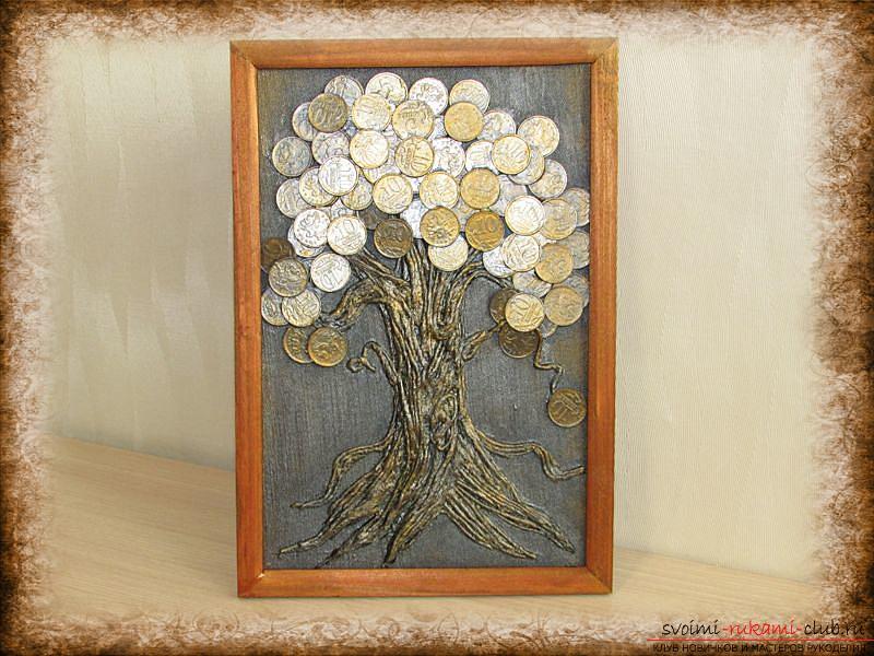 Мастер-класс покажет как сделать денежное дерево из монет своими руками.. Фото №1