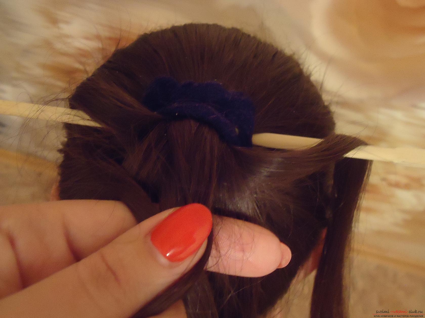 Коса через карандаш пошагово