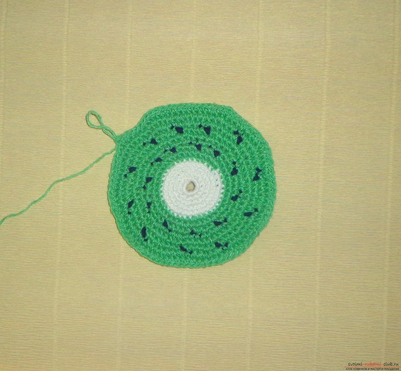 Урок по вязанию крючком прихватки для горячего Киви с описанием шагов и фото. Фото №5
